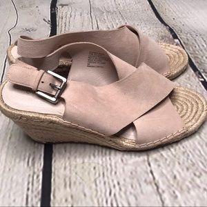 Carlson leather suede cream espadrilles wedge